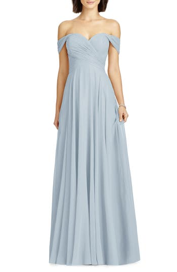 Dessy Collection Lux Off The Shoulder Chiffon Gown, Blue