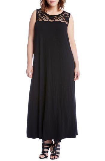 Plus Size Karen Kane Lace Yoke Maxi Dress, Black