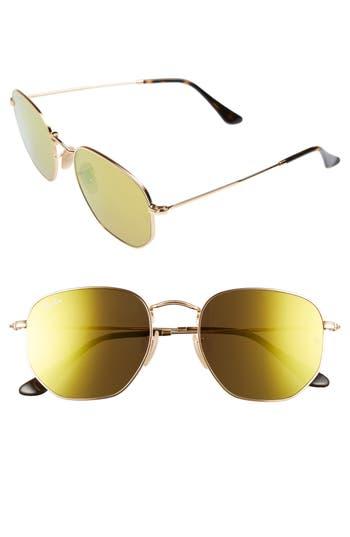 Ray-Ban 5m Hexagonal Flat Lens Sunglasses - Gold/ Brown
