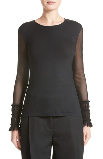 Women's Akris Punto Ruffle Cuff Mesh Sleeve Shirt