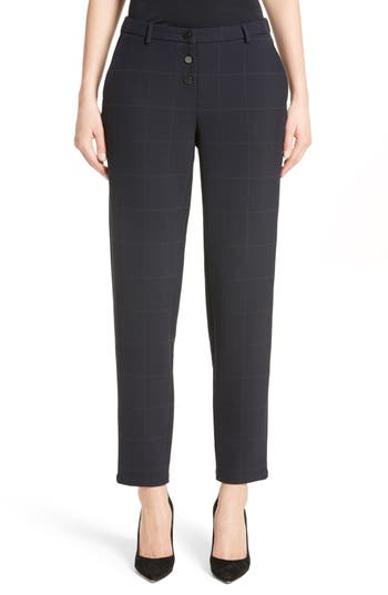 Women's Armani Collezioni Windowpane Plaid Pants, Size 2 US / 38 IT - Blue