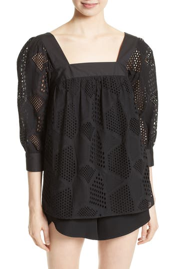 Women's Milly Eyelet Lace Top, Size 6 - Black
