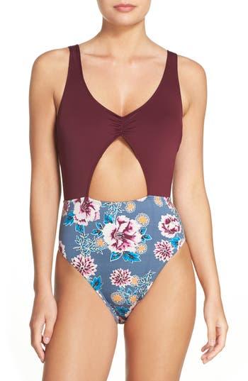 The Bikini Lab Bloom Print One-Piece Swimsuit, Grey