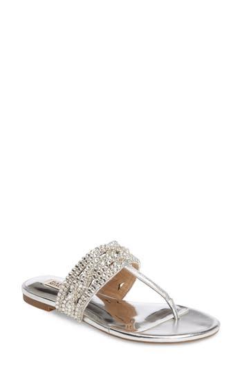 Badgley Mischka Trent Embellished Flat Sandal- Metallic