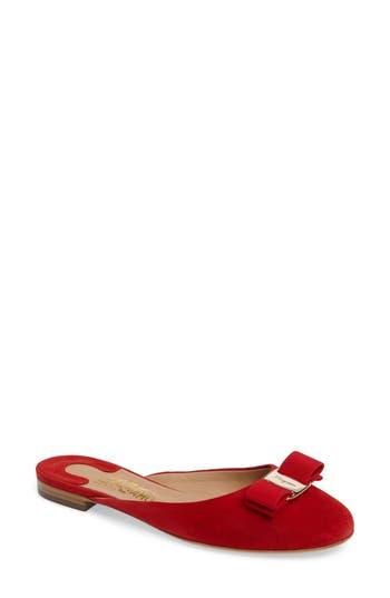 Salvatore Ferragamo Rounded Toe Bow Mule B - Red