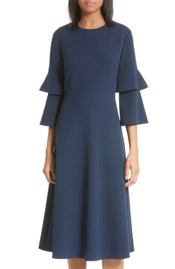 Tibi Bell Sleeve Midi Dress, Blue