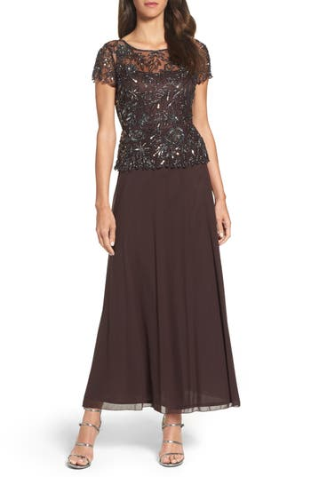 Pisarro Nights Beaded Mesh Mock Two-Piece Gown