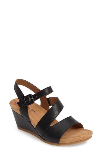Comfortiva Violet Wedge Sandal- Black
