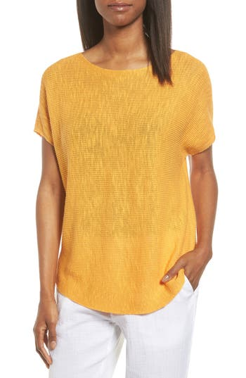 Women's Eileen Fisher Organic Linen & Cotton Knit Top, Size Medium - Orange
