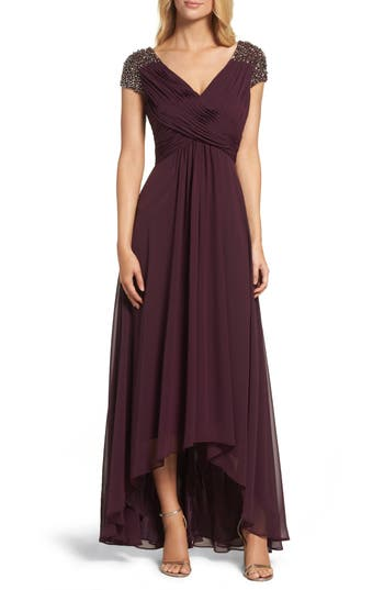Eliza J Embellished Pleated Chiffon Gown, Purple