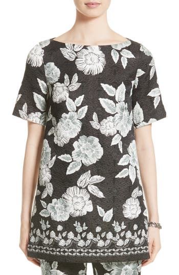 Women's St. John Collection Textured Floral Print Tunic