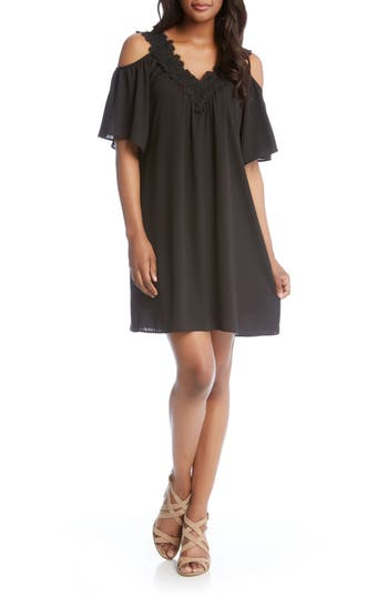 Karen Kane Lace Trim Crepe Cold Shoulder Dress