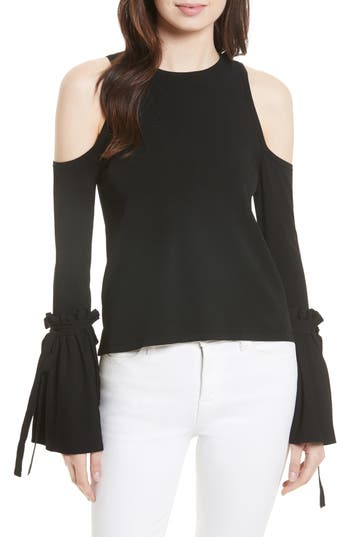 Women's Milly Cold Shoulder Knit Tie Sleeve Top, Size Petite - Black