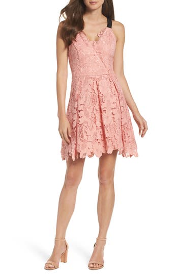 Adelyn Rae Fit & Flare Dress, Pink