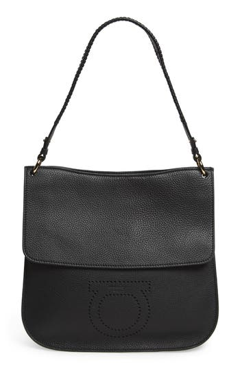 Salvatore Ferragamo Pebbled Leather Hobo Bag -
