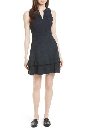 Rebecca Taylor Ruffle Hem Tweed Dress, Blue
