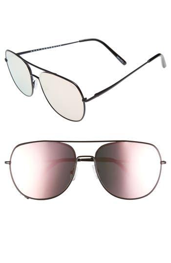 Quay Australia Living Large 60Mm Mirrored Aviator Sunglasses - Black/ Pink