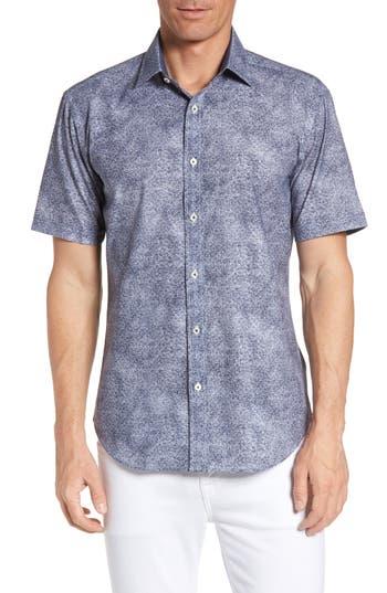 Men's Bugatchi Shaped Fit Amoeba Print Short Sleeve Sport Shirt