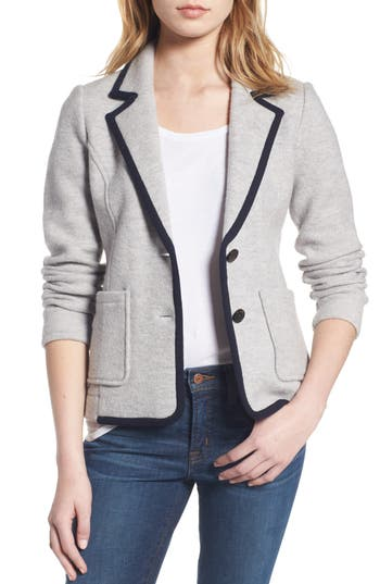 J.crew Tipped Merino Wool Sweater Blazer, Blue