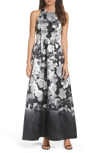 Alfred Sung Floral Sateen Gown, Black