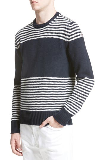Moncler Maglione Stripe Wool & Cashmere Sweater, Blue