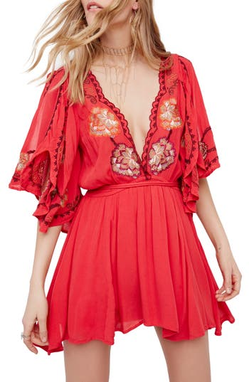 Free People Cora Embroidered Minidress, Red