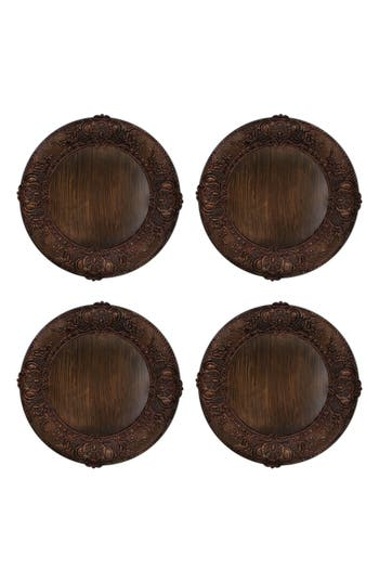 American Atelier Set Of 4 Embossed Charger Plates, Size One Size - Brown