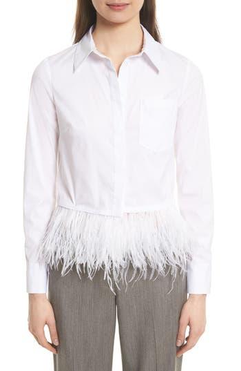 Women's Milly Cross Dye Feather Hem Top, Size 2 - White