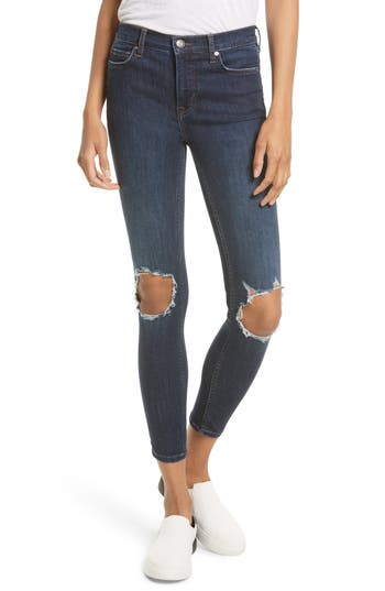 Women's Free People High Rise Busted Knee Skinny Jeans