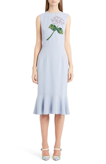 Dolce & gabbana Embellished Ruffle Hem Dress, US / 42 IT - Blue