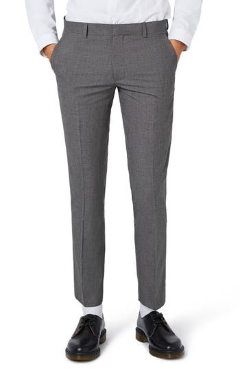 Men's Topman Textured Skinny Fit Suit Trousers
