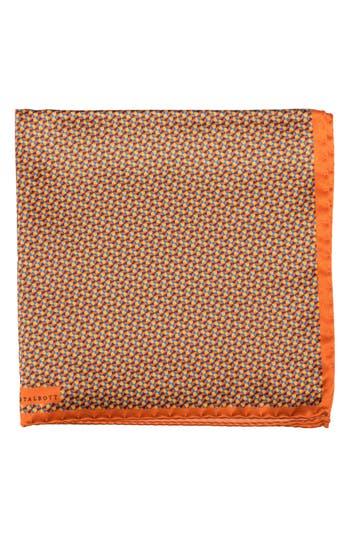 Men's Robert Talbott Geometric Silk Pocket Square, Size One Size - Orange