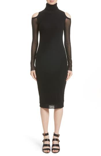 Fuzzi Tulle Cold Shoulder Turtleneck Dress