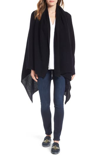 Women's Halogen Waffle Knit Cashmere Wrap, Size One Size - Black