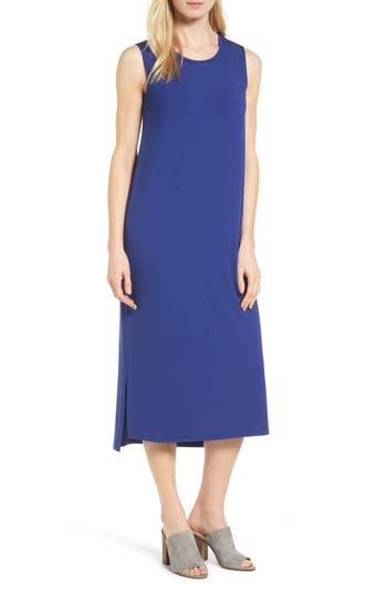Eileen Fisher Round Neck Calf Length Jersey Dress, Blue