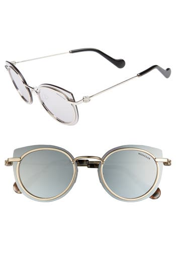 Moncler 5m Mirrored Cat Eye Sunglasses - Shiny Palladium / Smoke Mirror