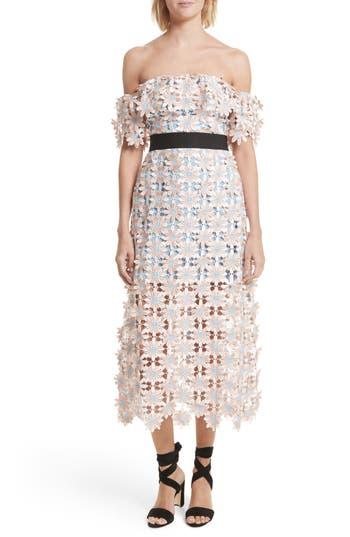 Women's Self-Portrait 3D Floral Lace Off The Shoulder Midi Dress