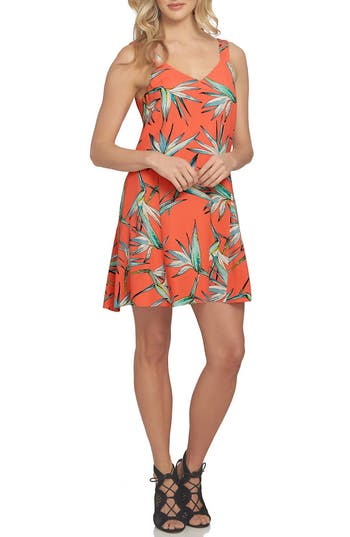 1.state Floral Print Dress, Coral