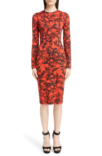 Givenchy Rose Print Jersey Dress, 6 FR - Red