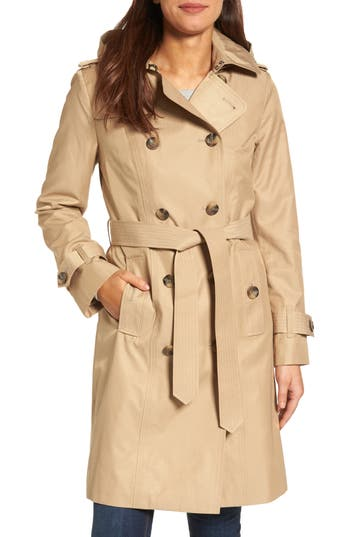 Women's London Fog Hooded Double Breasted Long Trench Coat