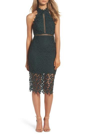 Bardot Gemma Halter Lace Sheath Dress, Green
