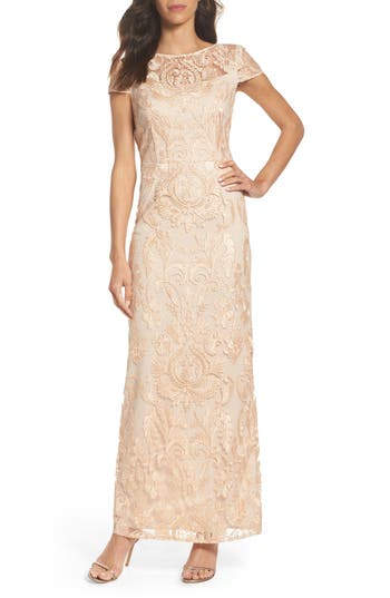 Alex Evenings Lace Column Gown, Pink
