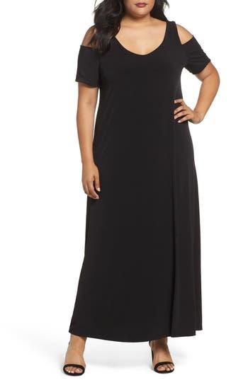 Plus Size Sejour Knit Cold Shoulder Maxi Dress, Black