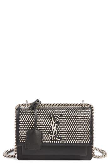 Saint Laurent Small Sunset Studded Leather Shoulder Bag - Black