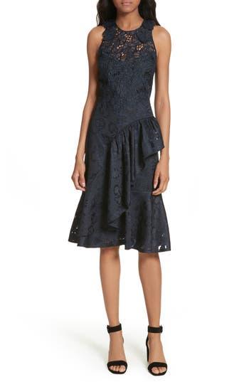 Rebecca Taylor Aly Floral Lace & Jacquard Dress, Blue