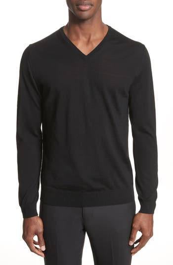 Lanvin Wool V-Neck Sweater, Black