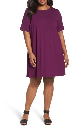 Plus Size Eileen Fisher Stretch Jersey Shift Dress, Purple