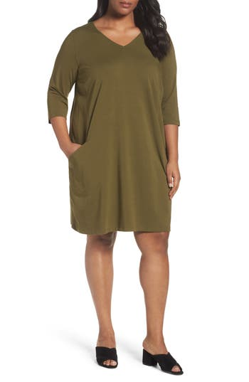 Plus Size Eileen Fisher Organic Cotton Jersey Shift Dress, Green