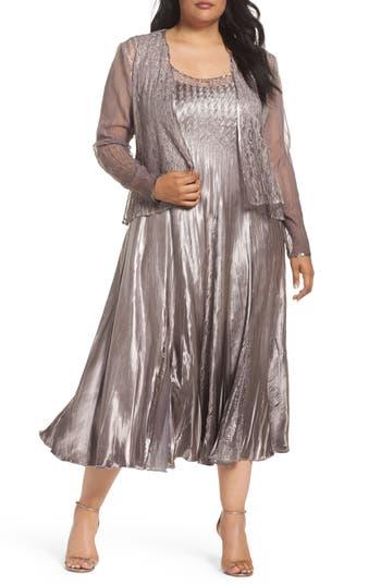 Plus Size Komarov A-Line Midi Dress With Jacket, Beige