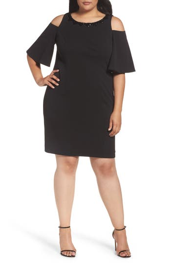 Plus Size Alex Evenings Embellished Cold Shoulder Shift Dress, Black